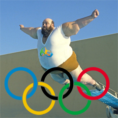 big man doing a belly flop under Olympic rings