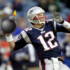Tom Brady throwing a bomb.