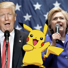 Donad Trump, Hillary Clinton, and Pikachu giving speeches