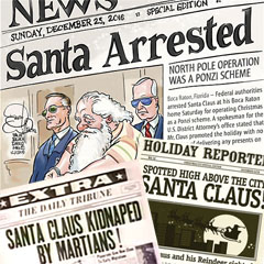 Fake newspapers with stories about Santa Claus
